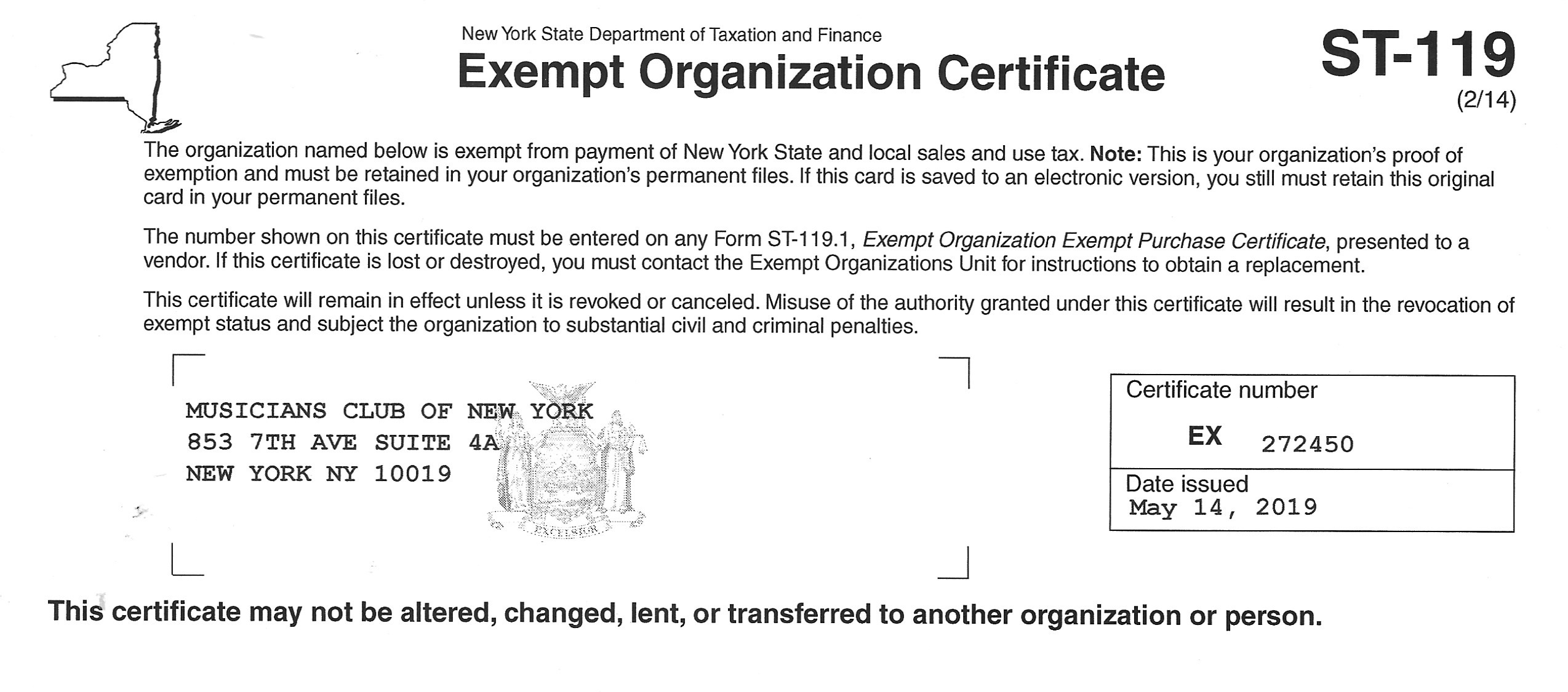 mcny ST 119 NYS Exempt Organization Certificate